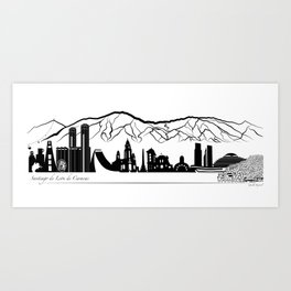 Skyline Caracas - Panoramic illustration Art Print