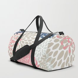 Floral Mixed Blooms, Blush Pink, Navy Blue, Gray, Beige Duffle Bag