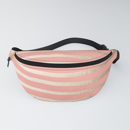 Simply Drawn Stripes in White Gold Sands and Salmon Pink Fanny Pack