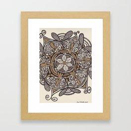 Black Gold Zendala Framed Art Print