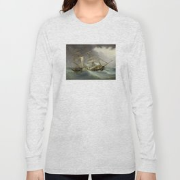 Vintage Destroyed Sailboat During Storm Painting (1859) Long Sleeve T-shirt