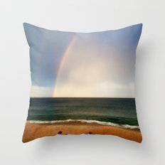 Beach Rainbow Throw Pillow