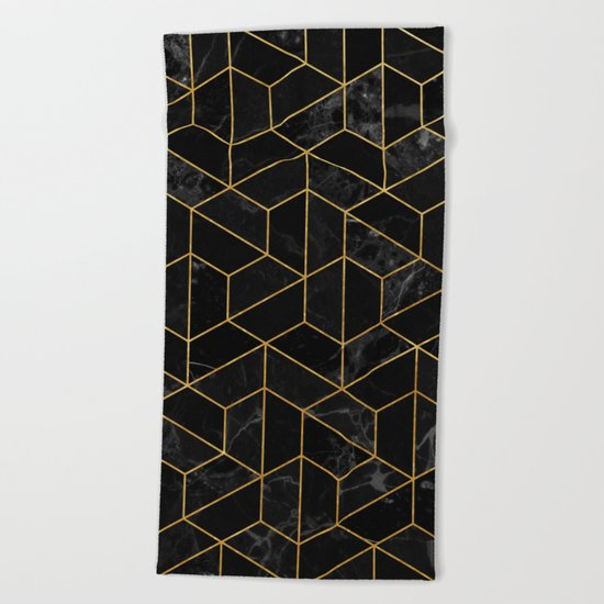 Black Marble Hexagonal Pattern Beach Towel