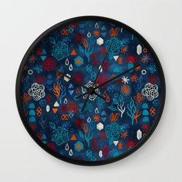 Earth, Water, Fire, Air - a watercolor pattern Wall Clock