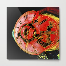 Traditional antique clock face with Roman numerals shown in conceptual grunge red abstract shape Metal Print