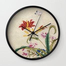 Minhwa-Korea traditional flower art : Lilium lancifolium and Butterfly Wall Clock
