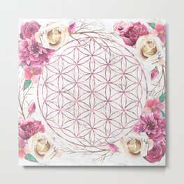 Mandala Rose Gold Garden Pink Red Yellow Metal Print