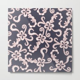 Blush Pink White Floral Lace on Navy Blue Metal Print
