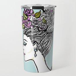 Wedding Princess Hair with Roses Travel Mug