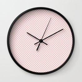 Rose Quartz and White Polka Dots Wall Clock