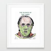 silence of the lambs Framed Art Prints featuring The Silence of the Lambs by AdrockHoward