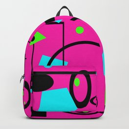 Retro  geomentric abstract design pink Backpack