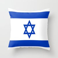israel Throw Pillows featuring Flag of Israel by Neville Hawkins