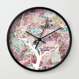 Washington map flowers Wall Clock