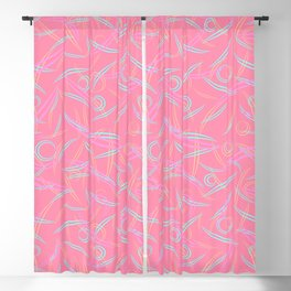 Pink strict abstraction of rounded pastel and delicate triangles and smooth lines. Blackout Curtain