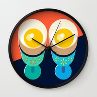 egg Wall Clocks featuring Egg by Sam Osborne