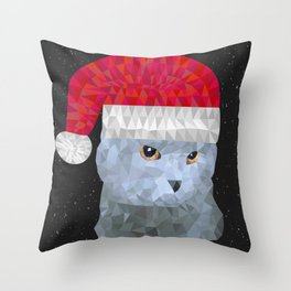 Gray british cat with christmas hat Throw Pillow