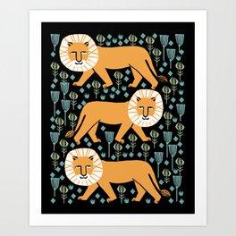 Lion safari printmaking screen print art minimal kids art by andrea lauren Art Print