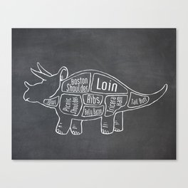 Triceratops Dinosaur (A.K.A Three Horn Face) Butcher Meat Diagram Canvas Print