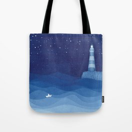 Lighthouse & the paper boat, blue ocean Tote Bag
