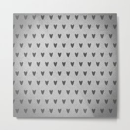 Grey Hearts Metal Print