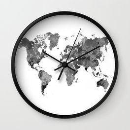 World map in watercolor gray Wall Clock