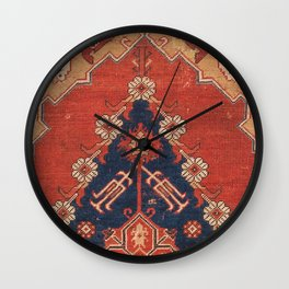 Southwest Tuscan Shapes III // 18th Century Aged Dark Blue Redish Yellow Colorful Ornate Rug Pattern Wall Clock