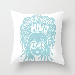 Open Your Mind in Mint Throw Pillow