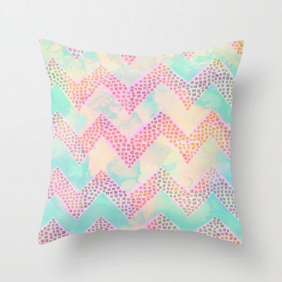 Little Squares Chevron - Pastel Throw Pillow