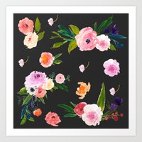 goth Art Prints featuring Floral Goth by MY  HOME