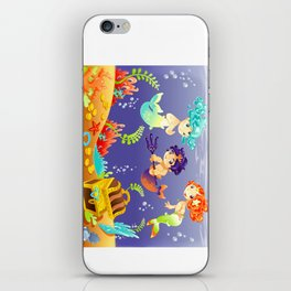Baby Sirens and Baby Triton with background. iPhone Skin