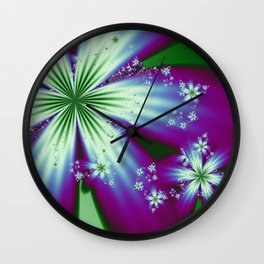 Purple Blue and Green Flowers Wall Clock