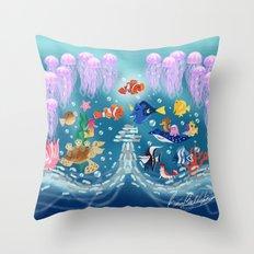 Sea Wallpainting Throw Pillow