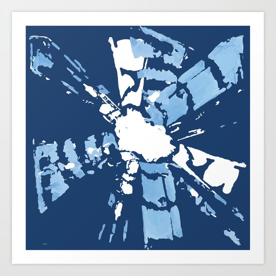 Blue Shibori tie-dye Art Print