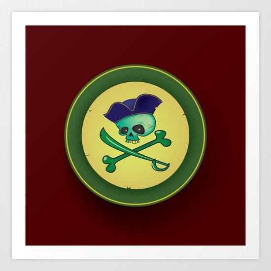 green pirate skull Art Print