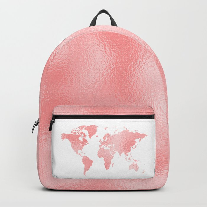 Pink shiny metal foil rose gold world map backpack by betterhome pink shiny metal foil rose gold world map backpack gumiabroncs Gallery