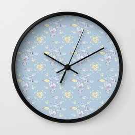 Toucans Oranges Pattern, Colorful Pattern, Birds Pattern, Blue Background Pattern Wall Clock