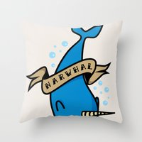 narwhal Throw Pillows featuring Narwhal by Katie Bell