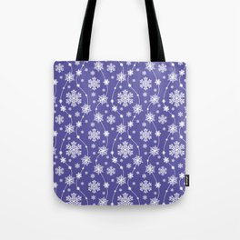 Purple Holiday Snowflake Pattern Tote Bag