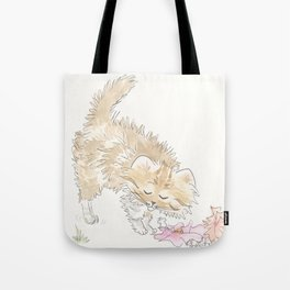 Fluffy Tabby Cat with Flowers and Fur Flying Tote Bag