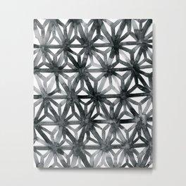 Charcoal Asanoha Metal Print