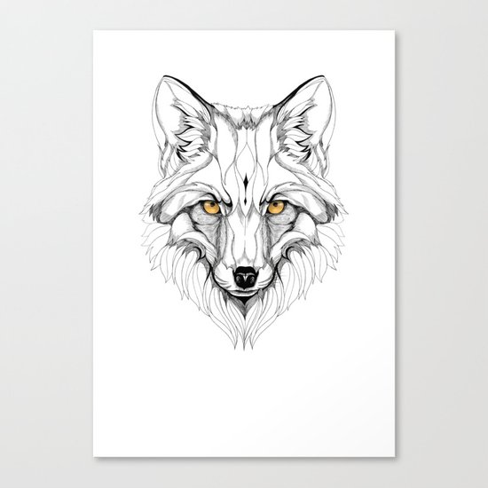 Red Fox (black stroke version for t-shirts) Canvas Print