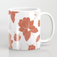 vintage floral Mugs featuring Vintage Floral by She's That Wallflower