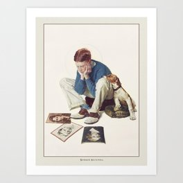 Vintage Poster-Norman Rockwell-Boy Gazing At Cover Girls. Art Print