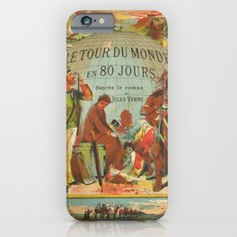 Vintage Poster Print - Around the World in 80 Days, by Jules Verne (1870) iPhone Case