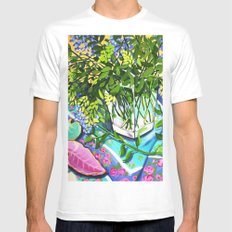 Leafy MEDIUM White Mens Fitted Tee