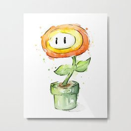 Fireflower Mario Watercolor Metal Print