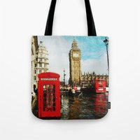 england Tote Bags featuring London, England by Abby Gracey