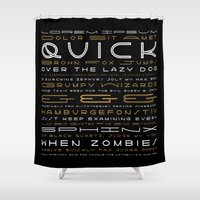 buzz lightyear Shower Curtains featuring Lightyear Type Specimen Poster by Thomas Ramey