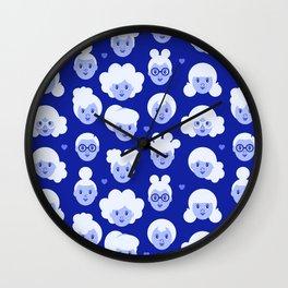 Little Girls Pattern - Blue (0002) Wall Clock